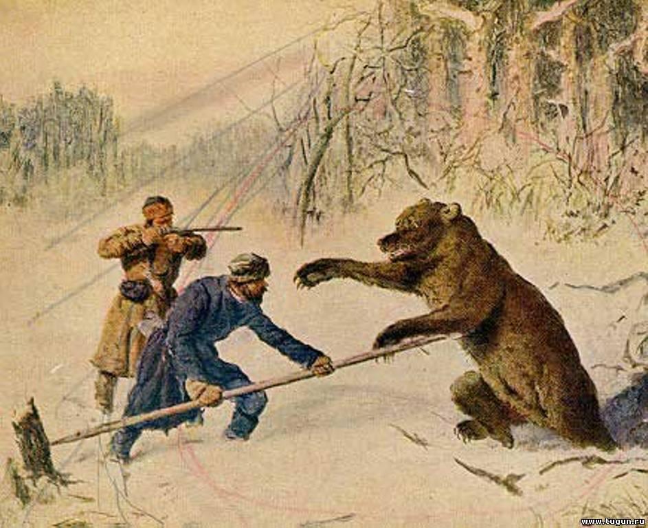 Рогатина на медведя: применение в групповой травле зверя и в одиночной охоте