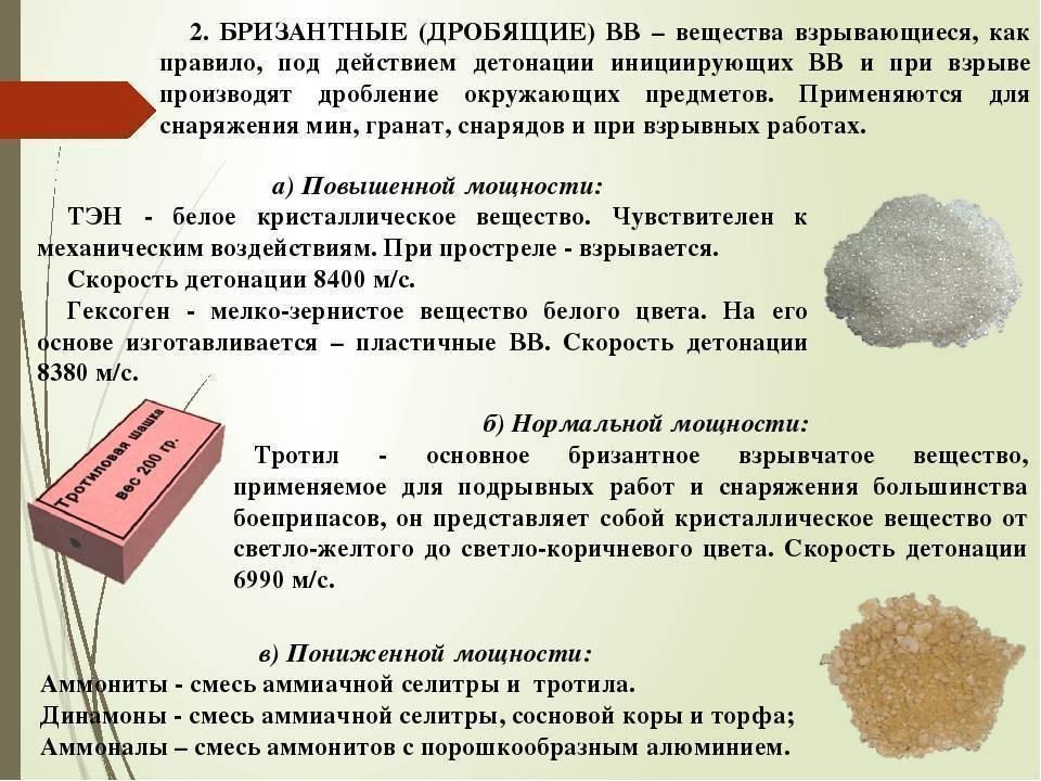 Скорость детонации (взрывной волны), тротиловый эквивалент - энергия взрыва, плотность различных взрывчатых веществ.