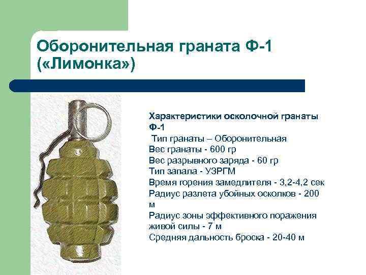 Ручная оборонительная граната «лимонка» ф-1: краткое описание, характеристики и отзывы