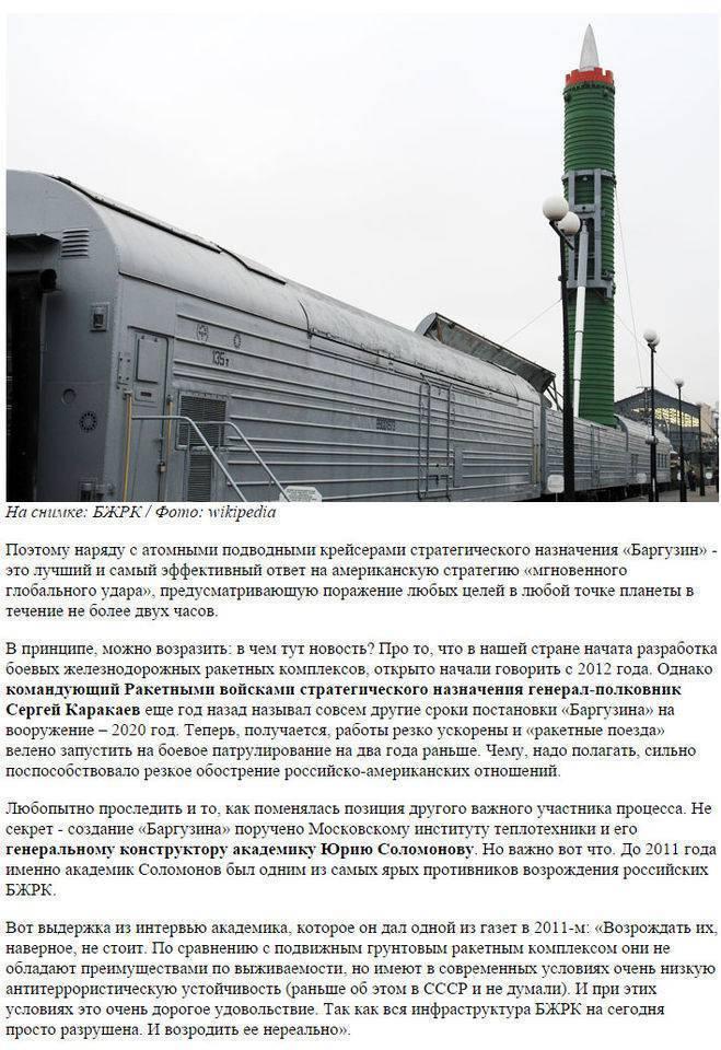 Боевой железнодорожный ракетный комплекс от «молодца» до «баргузина»