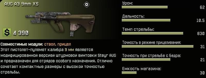 Пистолет-пулемет AUG A3 9mm XS