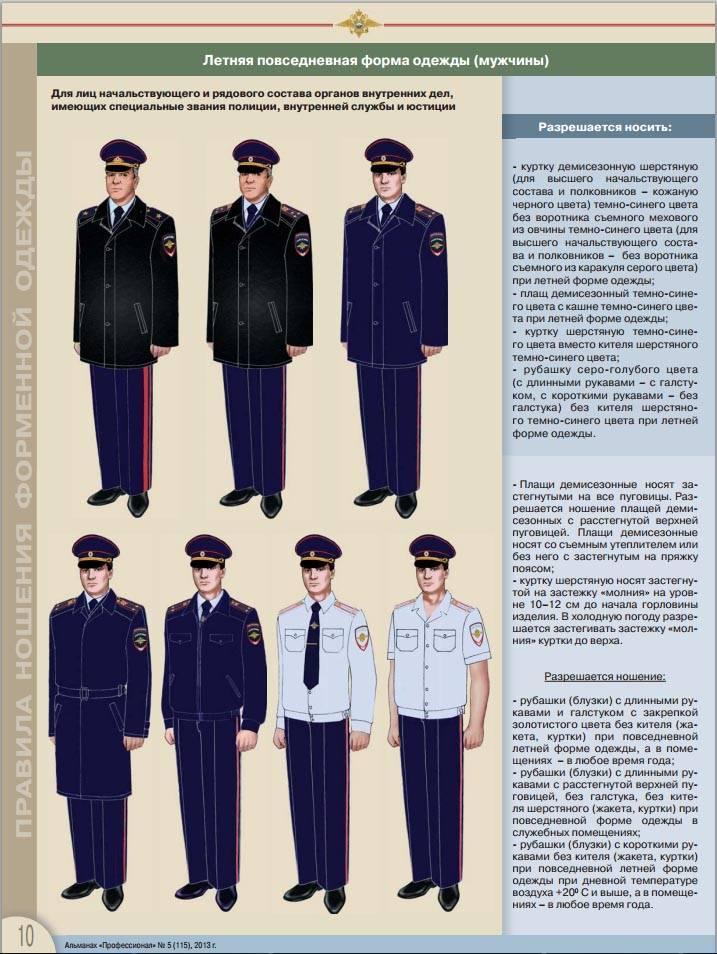 Форменная одежда полиции: особенности ношения