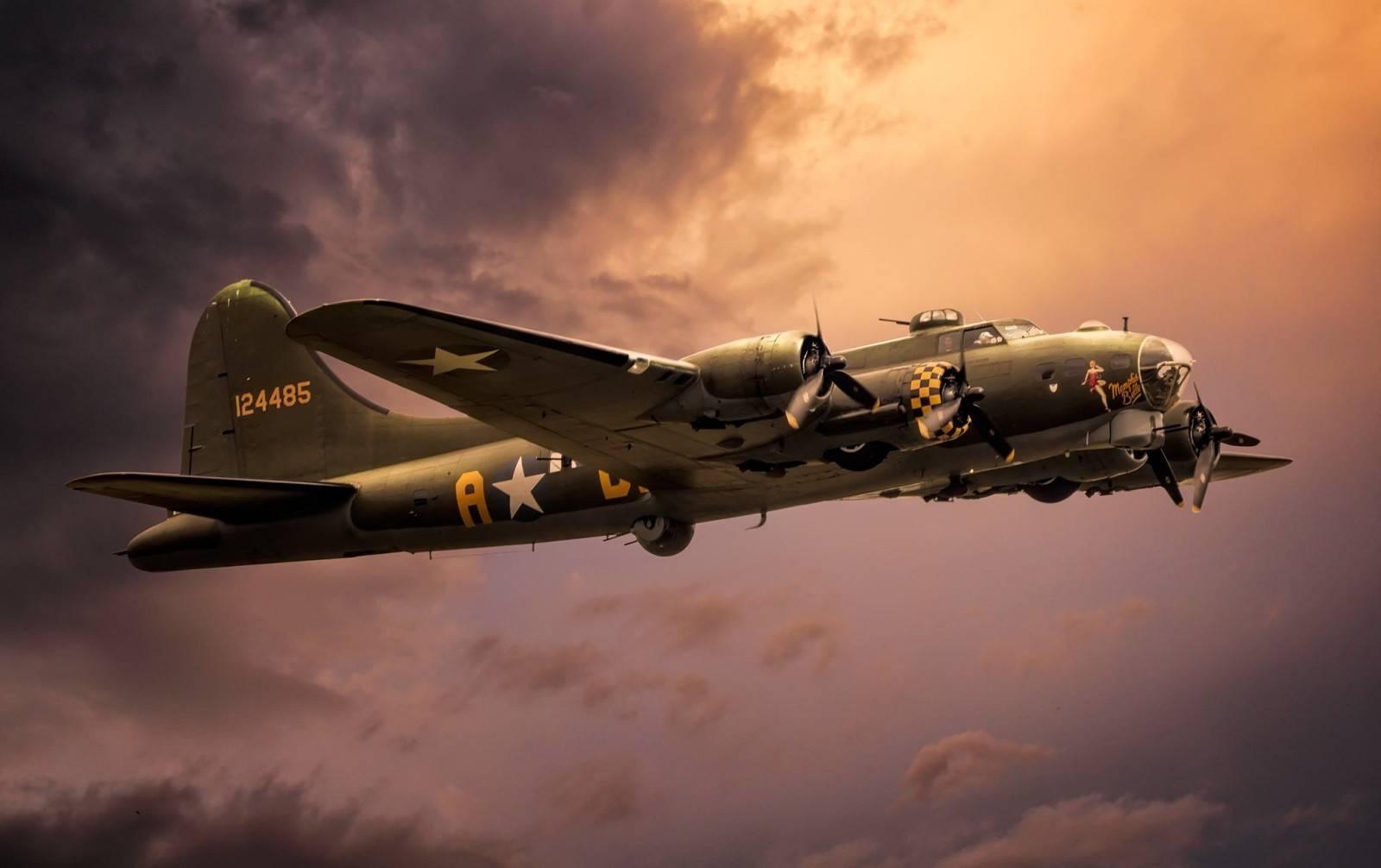 Немецкий ас гейнц бэр осматривает сбитый им американский бомбардировщик b-17 | военный альбом